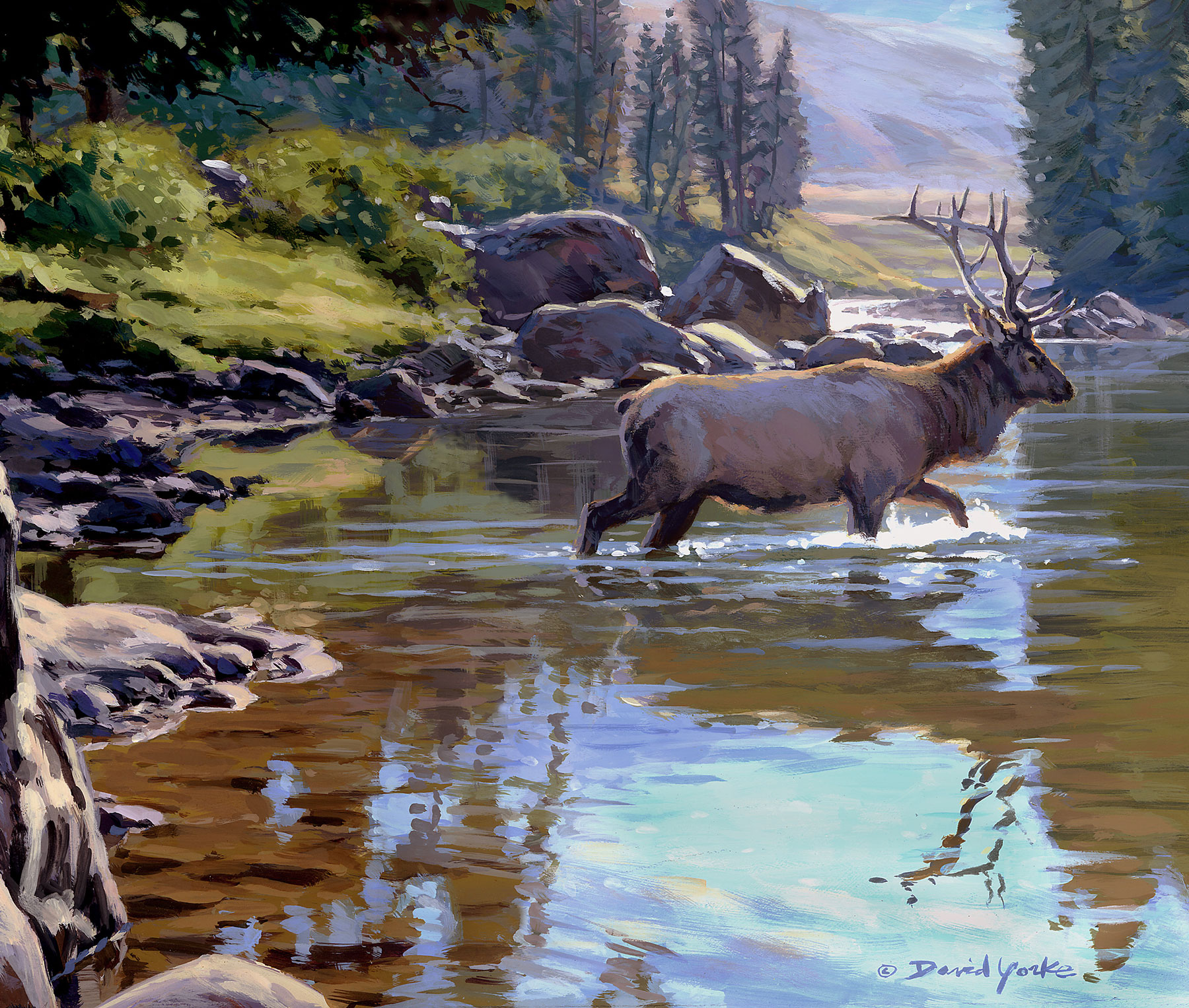 Crossing the Lamar Landscape Painting by David Yorke Art