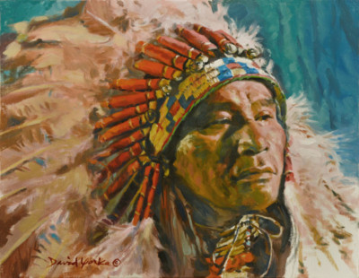 Lakota Chief Painting by David Yorke Art