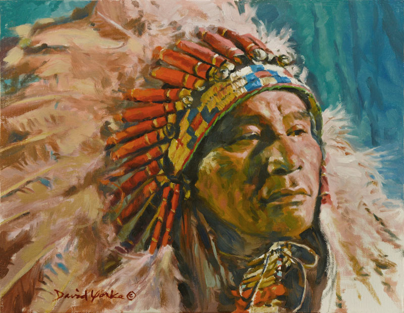 Lakota Chief Painting by David Yorke Art