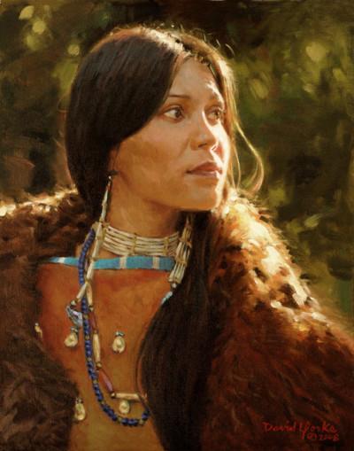 Oglala Lakota Woman Painting by David Yorke Art