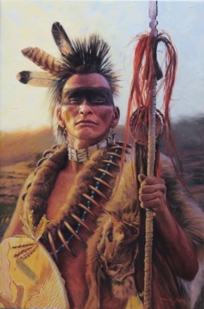 Pawnee Warrior Portrait Painting by David Yorke Art